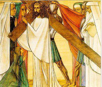2e statie: Jezus neemt zijn kruis op