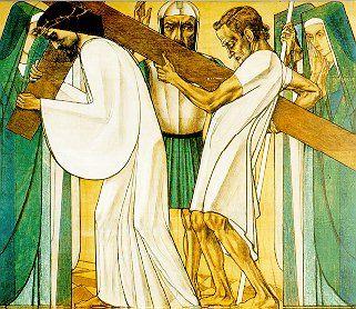 5e statie: Simon van Cyrene helpt Jezus