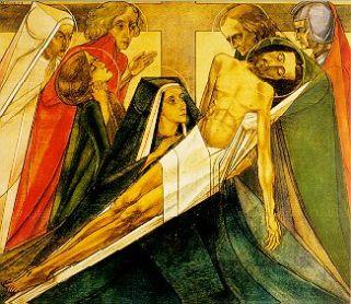 13e statie: Van het kruis genomen